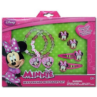 Minnie Mouse Box Set with Snap Clips, Beaded Charms Bracelets, & Rings