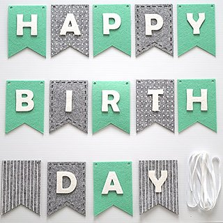 Happy Birthday Banner Bunting Laser Cut Felt 60 inches wide - Mints