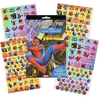 Sticker pad with 276 stickers featuring Spider-man!-Sticker pad has 276 stickers and 4 pages.-Stickers feature Spider-m