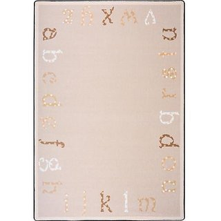 Joy Carpets Kid Essentials Infants & Toddlers Polka Dot ABCs Rug, Beige, 54