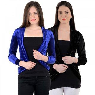 Pack of 2 Velvet Shrug - Black and Blue
