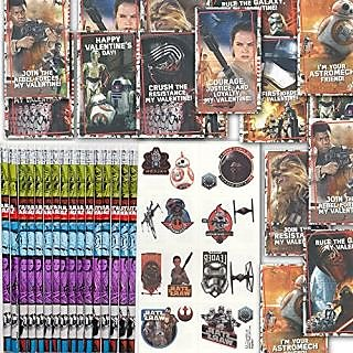 Star Wars 16 Valentines, 16 Pencils and 16 Temporary Tattoos Valentines Day Classroom Exchange Gift ...