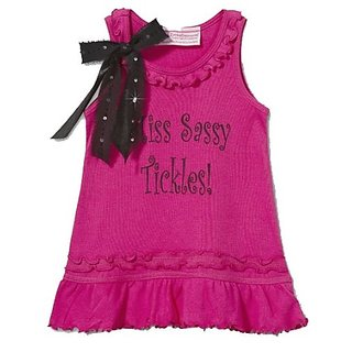 Hot Pink Miss Sassy Tickles Tee Shirt Dress w Removable Bow Pin - Size 6X