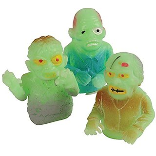 Lot Of 12 Assorted Glow In The Dark Zombie Finger Puppets