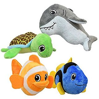 Plush Fish Sea Creatures Toys Soft Toys Bundle (4 Items): 1 Each- Green Sea Turtle, Gray Great Shark, Orange White Clown