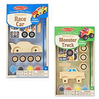 Melissa & Doug Decorate Your Own 2-Pack - DYO Race Car with DYO Monster Truck - Ages 3 And Up