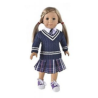 Ebuddy School Style Sweater+Skirt+T-shirt Doll Clothes Fits 18