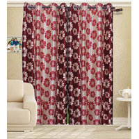 Deal Wala Pack Of 2 Flower Design Door Curtain{sp 04}