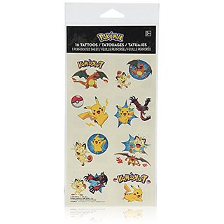 Amscan Cute Pikachu and Friends Birthday Party Temporary Tattoos Favor (1 Sheet)-16 Tattoos, 2