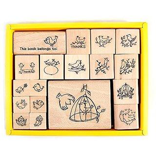 PPAPPAPPIYO Bird Set Rubber Stamp (18Pcs)