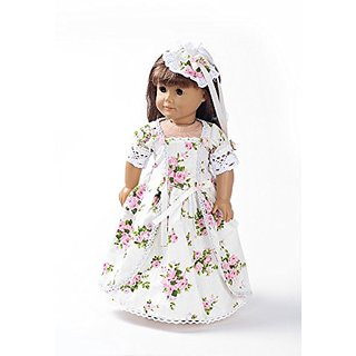 Teenitor(TM) White Long Dress With Red Flowers Fits 18 Inch Girl Dolls (Shipping By FBA)