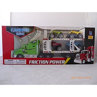 WeGlow Green Semi Truck and White Carrier with 4 Cars