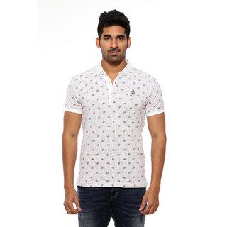 Mufti White Polo Neck Half Sleeve Mens T-Shirts