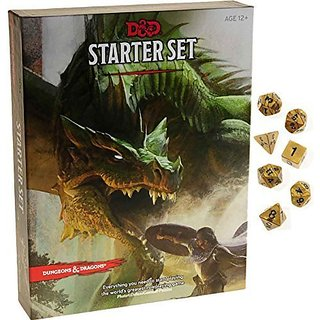 Dungeons & Dragons Starter Set _ with Bonus Gold Swirl 7-dice Set _ D&D Starter Set