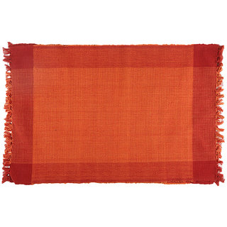 Dhrohar Hand Woven Cotton Table Mat - Pack Of 2 Mats - Orange