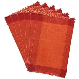 Dhrohar Hand Woven Cotton Table Mat - Pack Of 6 Mats - Orange