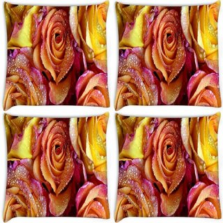 Snoogg Pack Of 4 Roses Covered In Dew Digitally Printed Cushion Cover Pillow 12 x 12 Inch