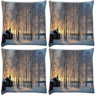 Snoogg Pack Of 4 House At Night Digitally Printed Cushion Cover Pillow 12 x 12 Inch