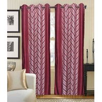 Deal Wala Pack Of 2 Red Striped Design Eyelet Door Curtain{kn3331}