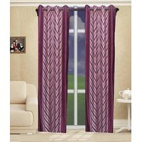 Deal Wala Pack Of 2 Pink Striped Design Eyelet Door Curtain{kn3332}