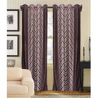 Deal Wala Pack Of 2 Brown Striped Design Eyelet Door Curtain{kn3333}