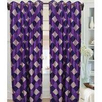 Deal Wala Pack Of 2 Purple Box Design Eyelet Door Curtain{kn3335}