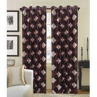 Deal Wala Pack Of 2 Brown Box Design Eyelet Door Curtain{kn3336}