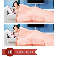 Bombay Mills Pack Of 2 Single Bed Sheet Cum Top Sheet - Orange
