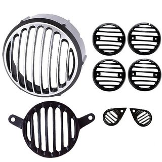 Bikers World Motorcycle Combo Heavy Metal Chrome Plated Headlight Grill For Enfield Classic 350