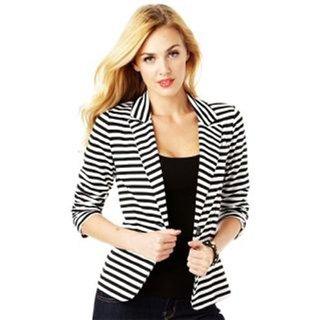 Raabta Fashion Black & White Viscose Blazers For Women