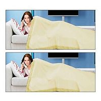 Bombay Mills Pack Of 2 Single Bed Sheet Cum Top Sheet - Yellow
