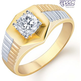 Sukkhi Gold And Rhodium Plated Solitaire Cz Ring For Men(124Grk650)