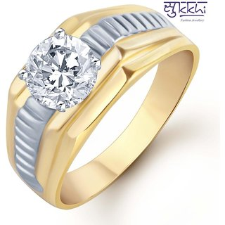 Sukkhi Gold And Rhodium Plated Solitaire Cz Ring For Men(130Grk650)