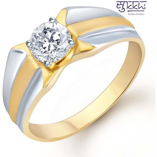 Sukkhi Gold And Rhodium Plated Solitaire Cz Ring For Men(132Grk530)