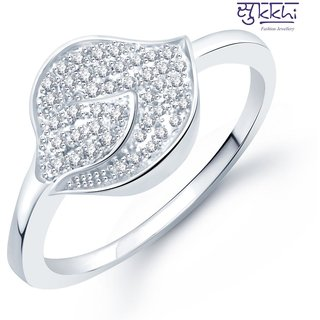 Sukkhi Fascinating Micro Pave Setting Rhodium Plated Cz Ring For Women(327R590)