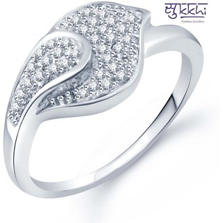 Sukkhi Moddish Micro Pave Setting Rhodium Plated Cz Ring For Women(330R510)