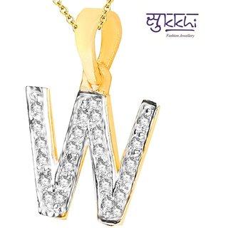 Sukkhi Cz Stone Studded Alphabet 'W' Pendant With Chain