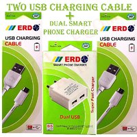 ERD Dual USB Smart Phone Charger With 2 USB Charging Cable