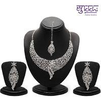 Sukkhi Sleek Rhodium plated AD Stone Necklace Set