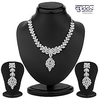 Sukkhi Fascinating Rhodium Plated Australian Diamond Necklace Set