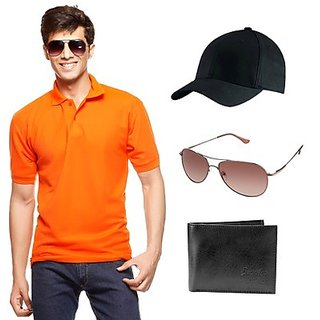 Delhi Seven Orange T-Shirt With Cap, Wallet & Sunglasses