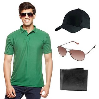 Delhi Seven Stylish Green T-Shirt With Cap, Wallet & Sunglasses