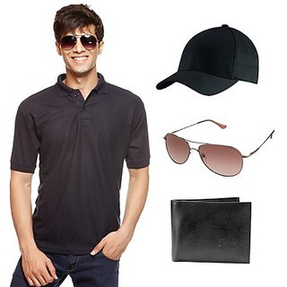 Delhi Seven Classic Black T-Shirt With Cap, Wallet & Sunglasses