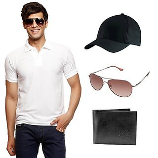 Delhi Seven White T-Shirt With Cap, Wallet & Sunglasses