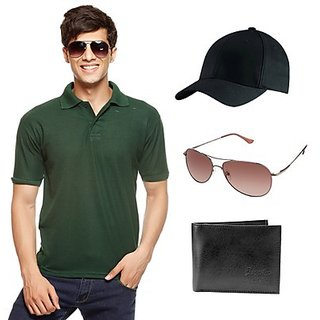 Delhi Seven Green T-Shirt With Cap, Wallet & Sunglasses