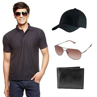 Delhi Seven Black T-Shirt With Cap, Wallet & Sunglasses
