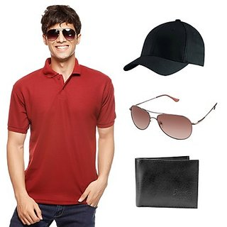 Delhi Seven Maroon T-Shirt With Cap, Wallet & Sunglasses