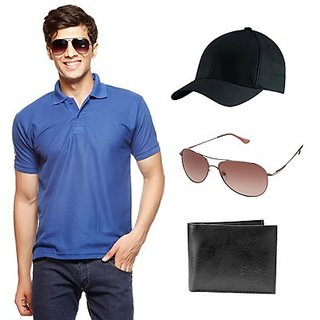 Delhi Seven Blue T-Shirt With Cap, Wallet & Sunglasses