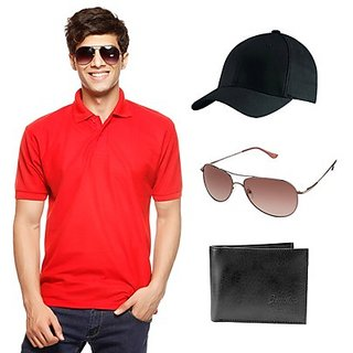 Delhi Seven Red T-Shirt With Cap, Wallet & Sunglasses