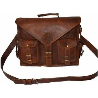 Tuzech Laptop Messenger Bag  (Brown) 16 Inches